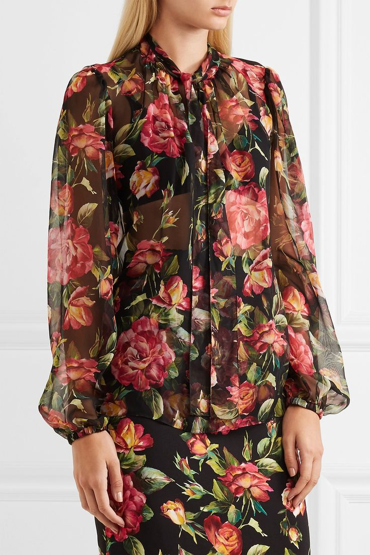 Dolce & Gabbana   Blouse en mousseline de soie imprimée à nœud lavallière   NET-A-PORTER.COM