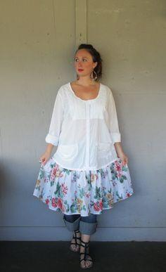 XX Large 1 X 2 X Bohemian upcycled dress / Eco Romantic clothing frock / gypsy farm girl dress / Hippie peasant dress by LillieNoraDryGoods