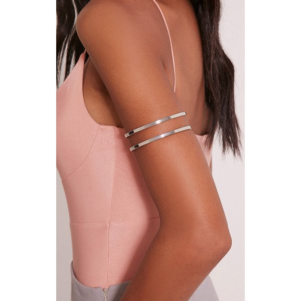 Danah Silver Cut Out Upper Arm Cuff ($6.16) ❤ liked on Polyvore featuring jewelry, bracelets, grey, arm cuff jewelry, silver bangles, cut out jewelry, grey jewelry and silver jewellery