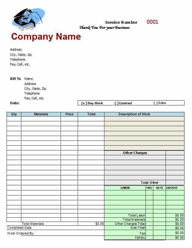 Body Shop Invoice Template Invoice Template Invoice Template Word Mechanic Shop