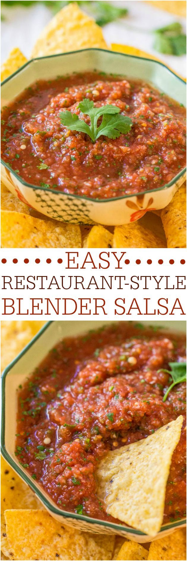 Easy Restaurant-Style Blender Salsa - Make your own salsa in minutes! Fast, easy, goofproof and tastes 1000x better than anything you'd buy! Great for parties, #GameDays and #Superbowl !