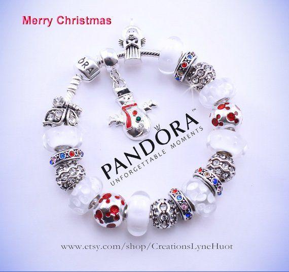 Joyeux Noël-2 styles disponibles-Bracelet PANDORA argent sterling ...
