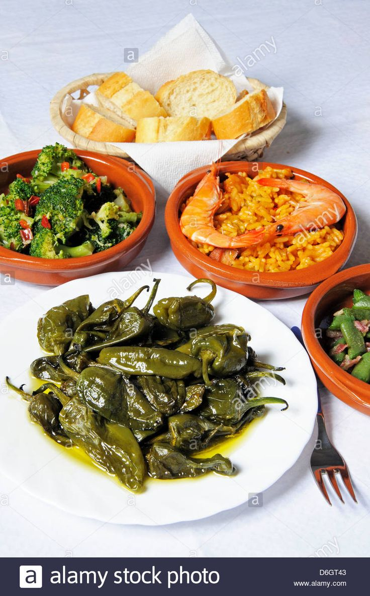 Tapas – Padron Peppers, Green Beans With Bacon, Seafood And Pork Stock Photo, Royalty Free Image: 55689203 - Alamy