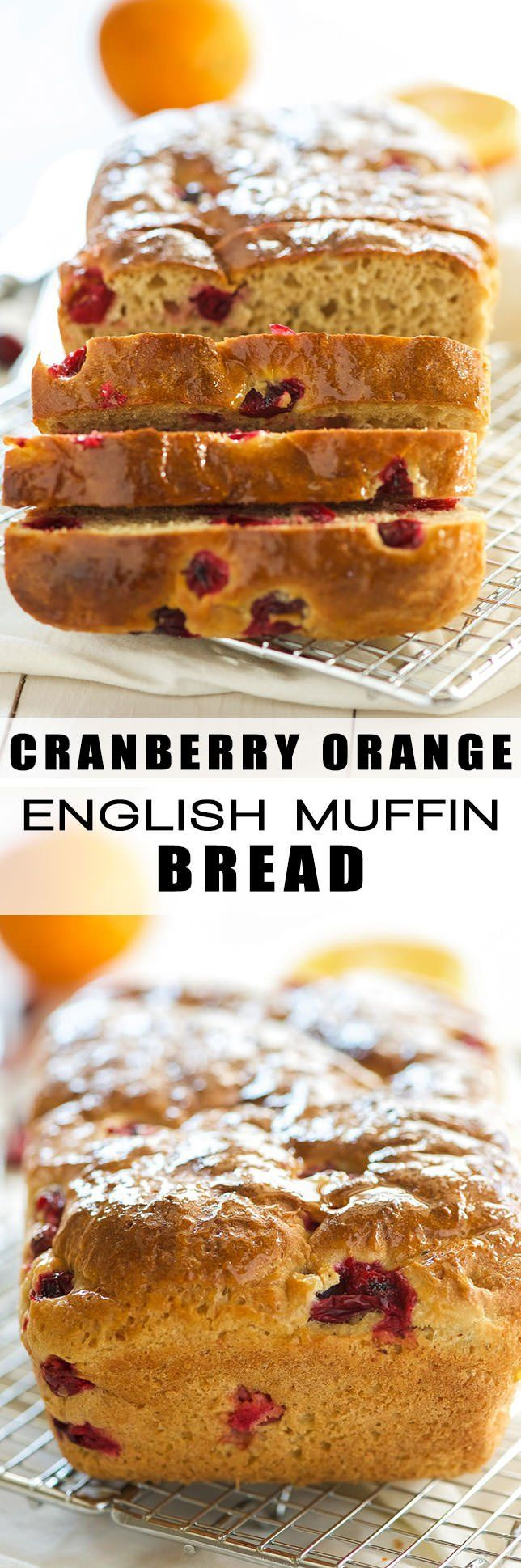 Cranberry Orange Whole Wheat English Muffin Bread is an easy quick bread and a heart healthy way to start your morning! Perfectly toasted, spread with a bit of butter and a cup of coffee!