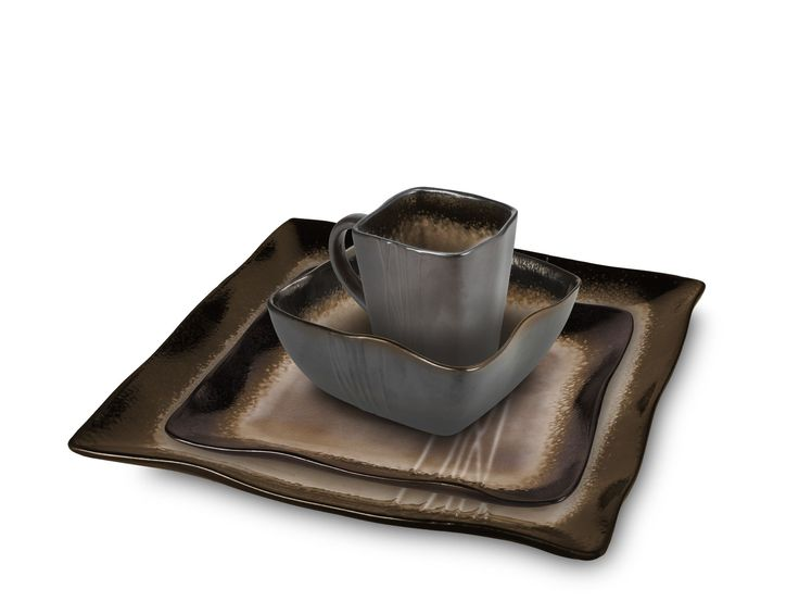 Earthtone Square 16 Piece Dinnerware Set
