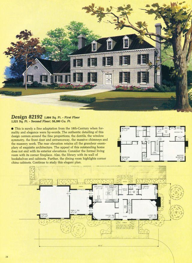 United States 1985 Design 82192 A Large Colonial Vintage Home Pla Vintage House Colonial Style Homes House Plans