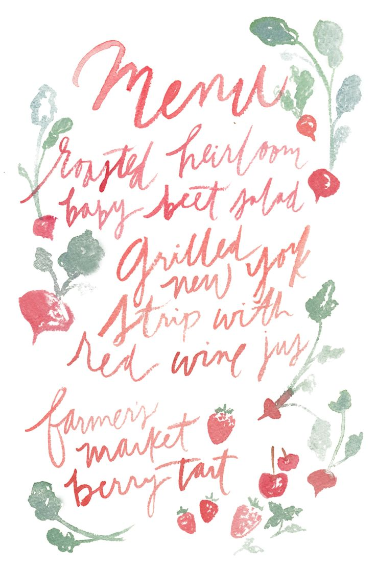 Punchy menu | JenHuangArt.com | Red Hand Lettering | Radishes | Beets