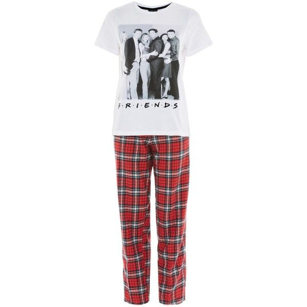 TopShop Friends Checked Pyjama Set (1040 TWD) ❤ liked on Polyvore featuring intimates, sleepwear, pajamas, red, cotton sleepwear, topshop pyjamas, retro pajamas, cotton pajama bottoms and red pajamas