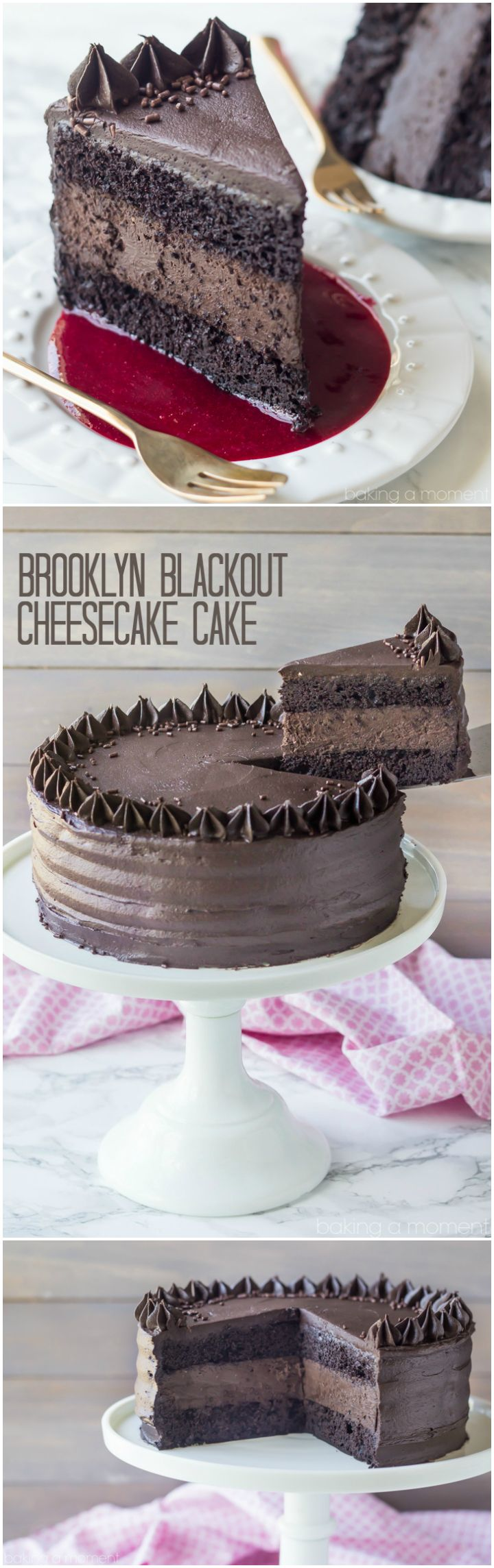 Brooklyn Blackout Cheesecake Cake   Baking a Moment.  Can be THM friendly by just changing the sweetener.