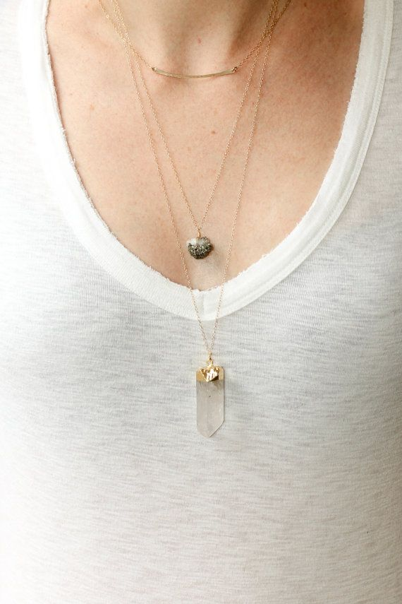 Crystal quartz necklace - long gold necklace  I want this necklace!!!