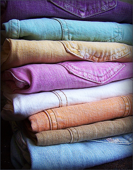 pastel-colored jeans
