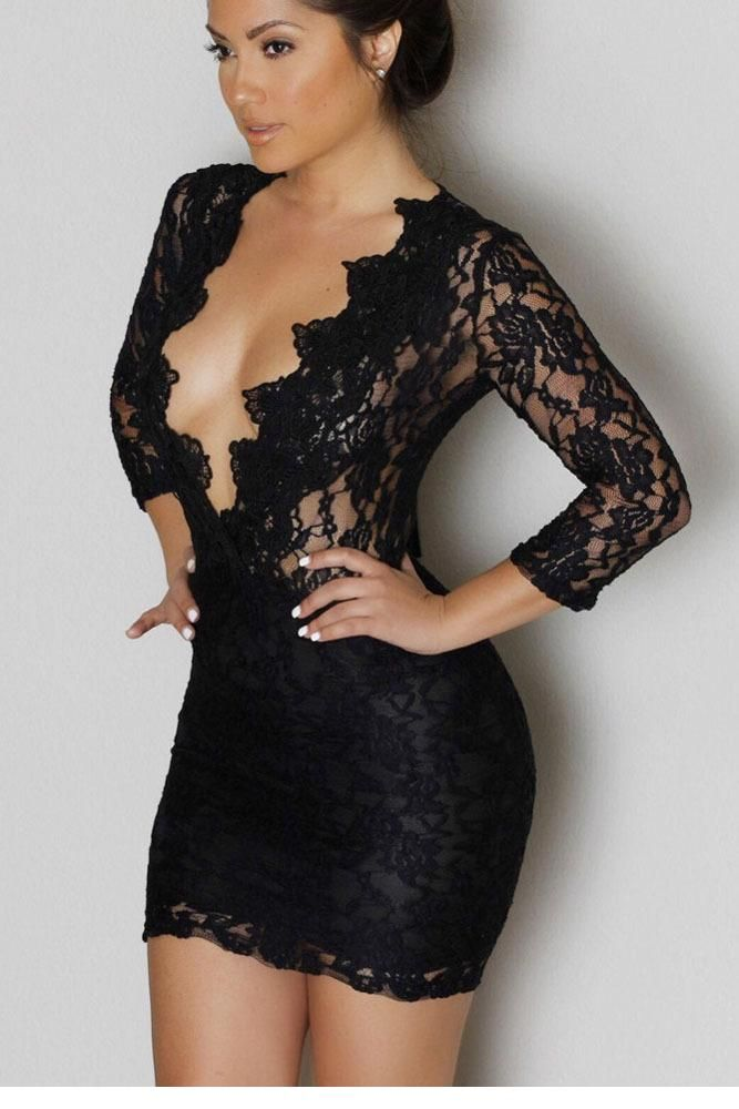 Vestidos Mujer Black Lace V-neck Long Sleeve Womens Sexy Short Dresses Party Night Club Mini Dress 2017 Woman Clothes LC22108