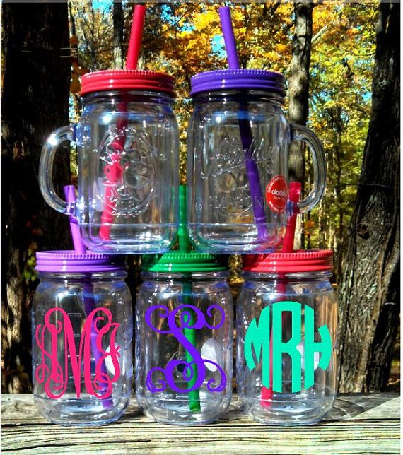 Personalized/Monogrammed Handled Double Insulated Mason Jar Tumbler (NEW COLORS), Mason Jar Teacher's Gift on Etsy, $14.00
