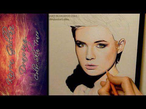 Drawing Color Skin Tones and Blending Tutorial, Karen Gillan - YouTube