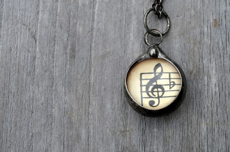 Musical Gift for Teacher, Original Vintage Sheet Music, Musical Note, Bass Clef, Treble Clef, Musical Necklace, Music Teacher Gift (2520)