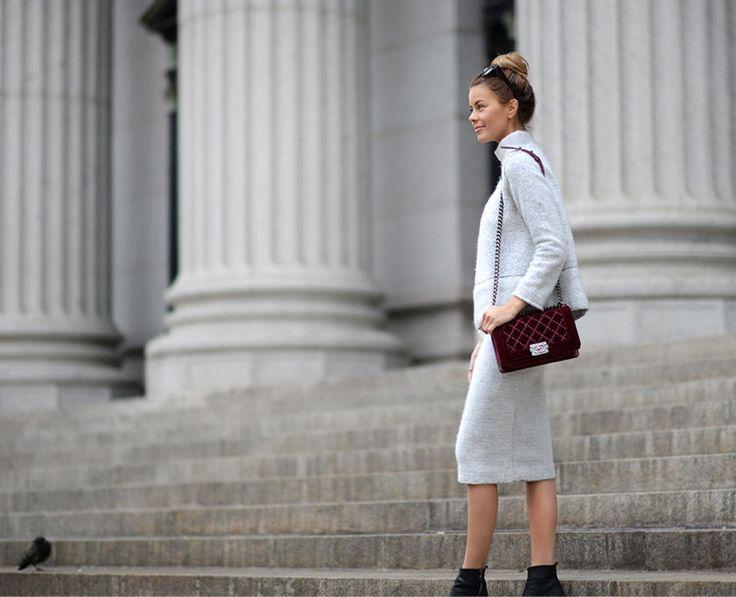 nettenestea annette haga zara genser sett ull skjørt lys grått chanel boy velvet bag burgundy veske new york shopping antrekk mote blogg