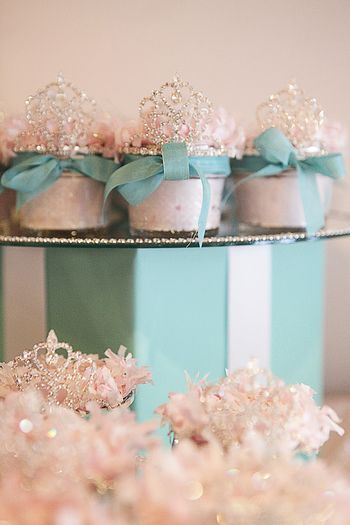 Breakfast at Tiffany's Party Favors - Body Scrubs in mason jars topped with tiaras.