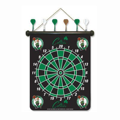 """Boston Celtics Magnetic Rico Dartboard Set. Hanging, magnetic dart board features team graphics. Includes 6 Magnetic darts in team colors. Approximate size is 16.5"""" W x 19"""" L with 4.5"""" hanger drop. Warning: Choking hazard; not intended for use in children under 5 years. Officially licensed product."""