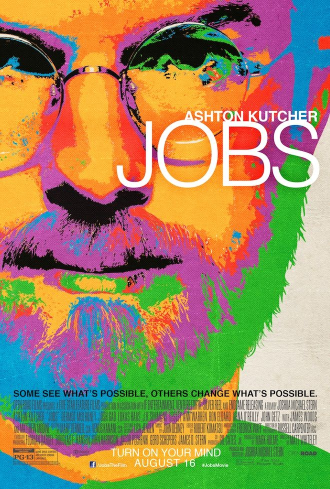 """Jobs"" poster just launched 2013-o7-03 for 2nd of 3 Steve Jobs bio films, here played by Ashton Kutcher, out Aug 16"