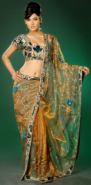 Multi Gold and Green Saree