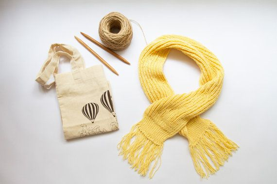 Hand Knit Yellow Scarf For The Little Ones by ATOLY on Etsy