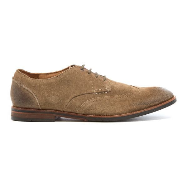 Clarks Men's Broyd Wing Suede Derby Shoes ($93) ❤ liked on Polyvore featuring men's fashion, men's shoes, men's dress shoes, beige, mens shoes, clarks mens shoes, mens suede dress shoes, red wing mens shoes and mens derby shoes