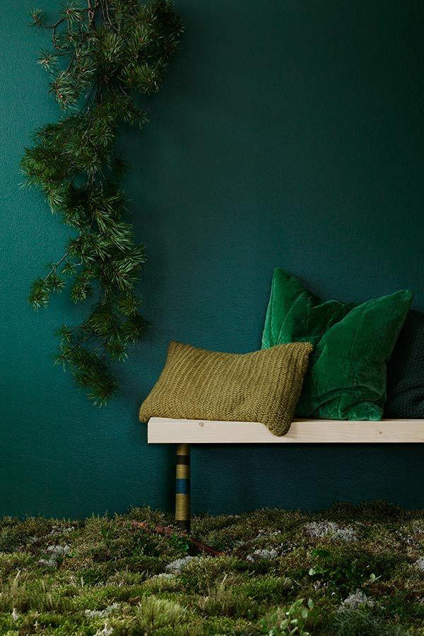 Kokeile vuoden väriä sisustuksessa! Sisustuksessa vihreän sävyjä voi yhdistellä loputtomasti - mallia voit ottaa suoraan luonnosta. M442 Vuono on helppo yhdistää muihin vihreän sävyihin. Katso toteutusidea klikkaamalla kuvaa.