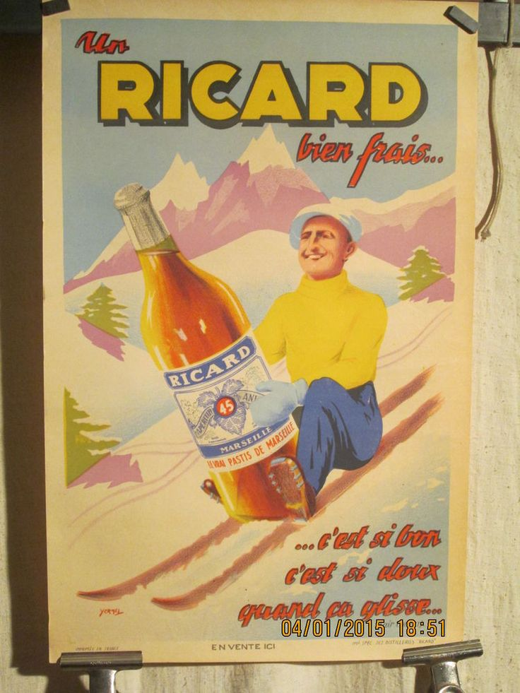 Affiche ancienne ricard paul ricard sur skis rare in for Poster deco cuisine