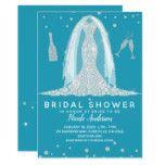 Glam Diamond Wedding Dress Teal Bridal Shower Card #weddinginspiration #wedding #weddinginvitions #weddingideas #bride