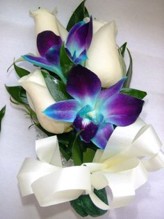 White Orchid Blue Delphineum Corsage | Blue And White Orchid Corsage Pin it. like. white