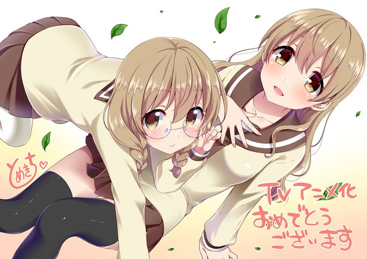 2girls braid brown_hair glasses hayama_kou leaf multiple_girls odagiri_futaba sansha_sanyou school_uniform serafuku siblings sisters tomekichi translated yellow_eyes