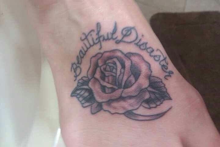 Beautiful Disaster Tattoo Meaning Foot tattoo rose beautiful
