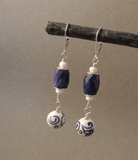 Artisan Handmade Earrings, Dangle Earrings, Faceted Lapis, Japanese Porcelain Beads, Blue and White Earrings, Sterling Silver, Urban Jewelry...