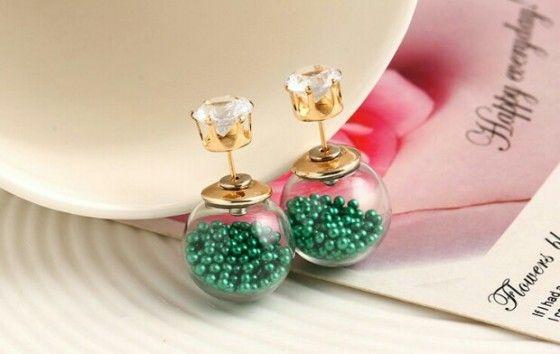 Shopo.in : Buy Green Glass Ball Earring online at best price in Kolkata, India