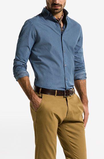 CAMICIA DENIM STAMPATA POIS SLIM - Camicie stampate - Camicie casual - MEN - Italia