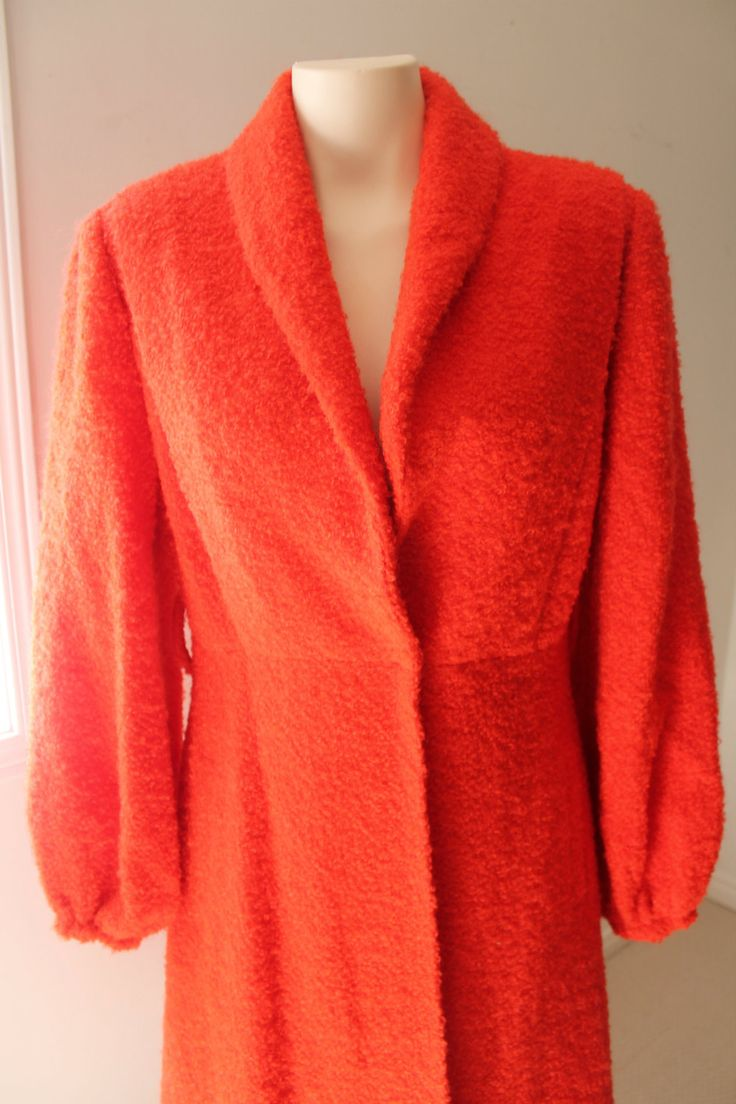 Vintage Orange Textured Coat - Size: Large by HotMamaVintage on Etsy