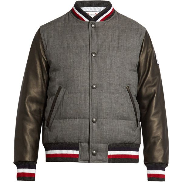 Moncler Gamme Bleu Leather-sleeved quilted wool bomber jacket (110.675 RUB) ❤ liked on Polyvore featuring men's fashion, men's clothing, men's outerwear, men's jackets, grey multi, mens grey bomber jacket, mens padded bomber jacket, men's wool bomber jacket, mens leather sleeve jacket and mens slim jacket