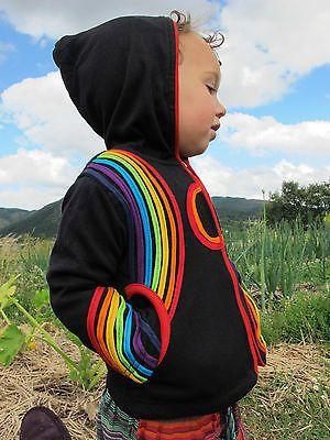Childrens Jacket baby Festival coat hoody colourful rainbow boho, hippy, psy