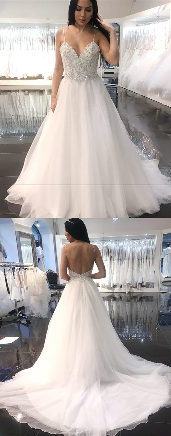 A-Line Spaghetti Straps Backless Organza Wedding Dress with Beading