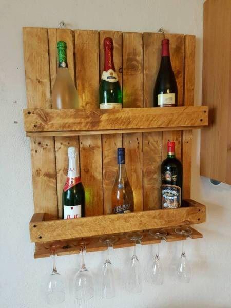 Schönes Wein- oder Whiskyregal aus alten Paletten - upcycling - Maße: 82 x 62 cmVersand 15 euro