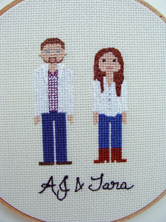 Custom Cross Stitch Family Portrait Personalized by PipiandToto