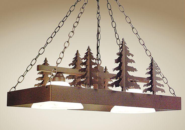 3-D Pine Trees Pool Table Light