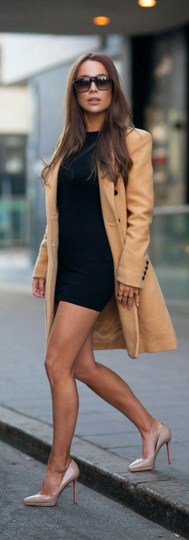 Johanna Olsson - Black Dress and Camel Long Sleeve Coat with Christian Louboutin