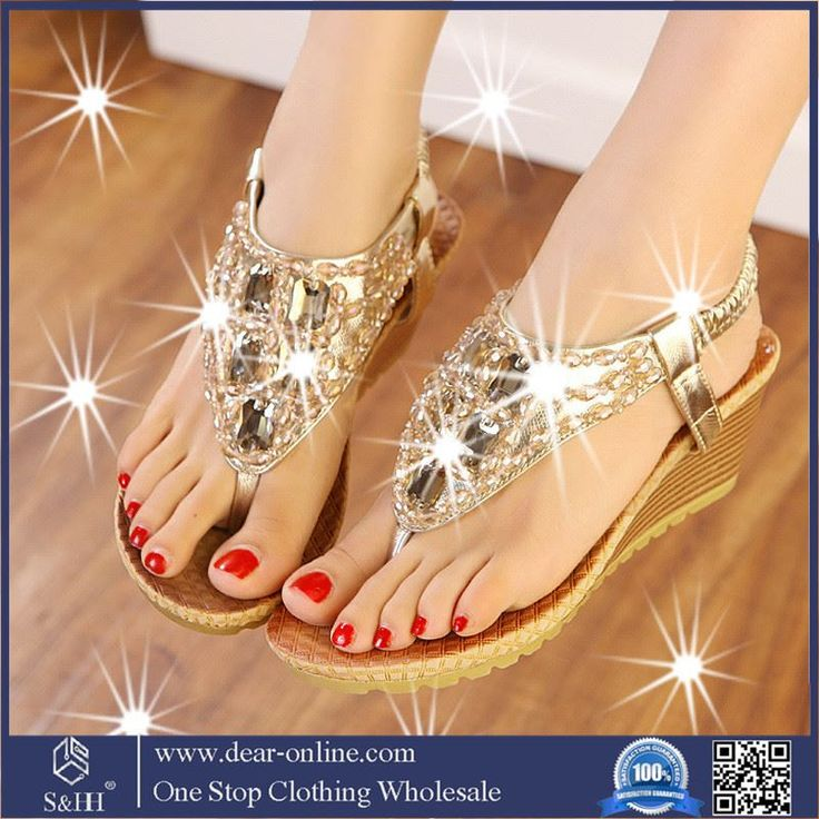 35dbb9a743c6b0 Price tracker and history of HOT Selling summer rhinestone fashion women  flip flops leather women casual wedges high heels sandals beach leisure  sandals