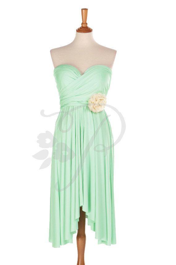 Demoiselle d'honneur robe Infinity Seafoam Green genou