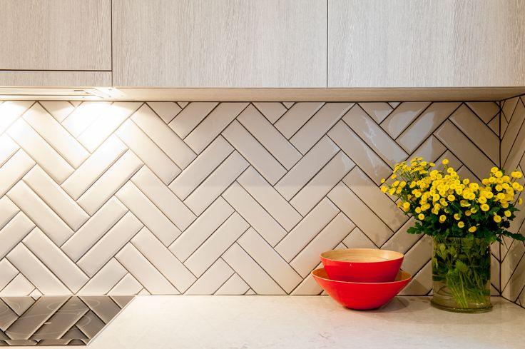 Logie Interiors Kitchen Design Splashback Detail Double Herringbone Tile