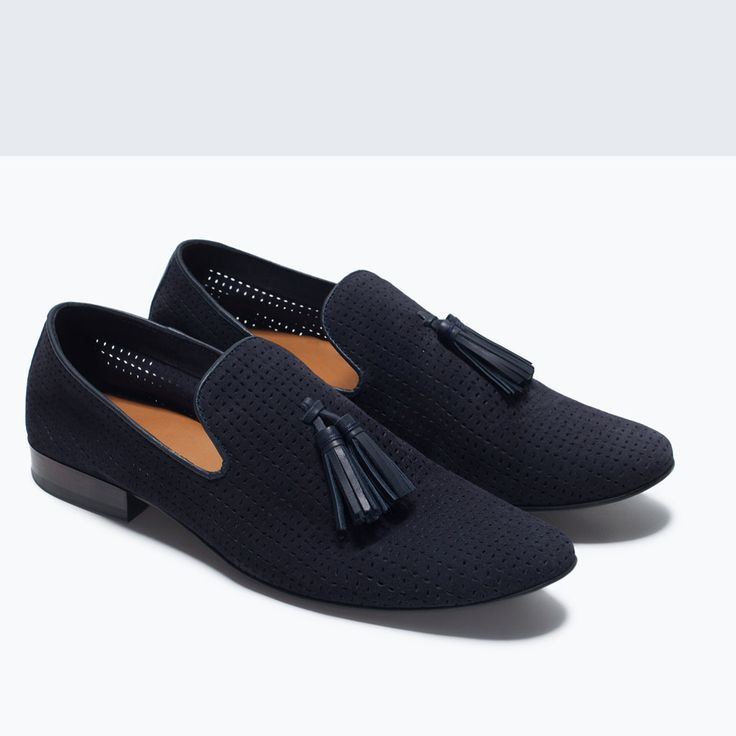 Image 5 of LEATHER SLIPPER SHOES WITH TASSELS from Zara