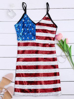 American Flag Sequins Club Patriotic Dress - Black