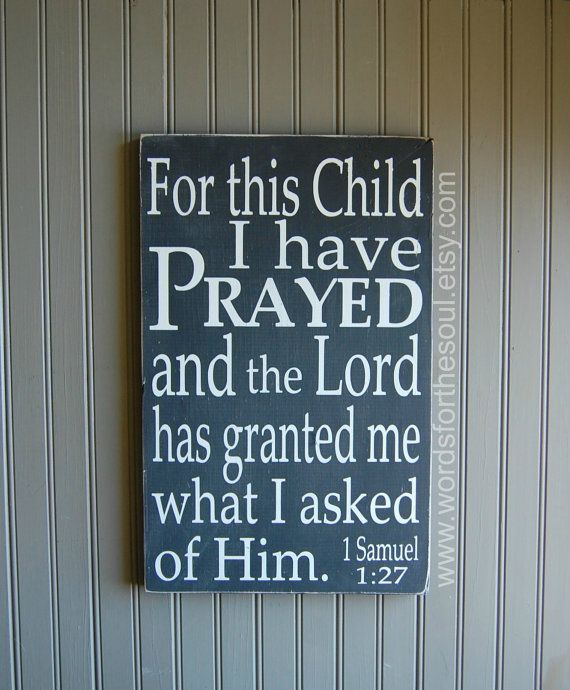 1 Samuel 1:27 For this Child I have Prayed Christian Scripture Subway Art Wooden SignNursery Adoption