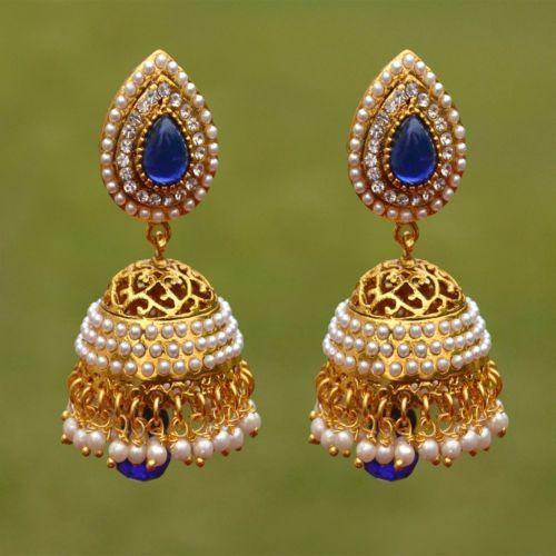 Jhumki Fashion Indian Ethnic Earrings Gold Tone Latest Fashion Party Wear Style
